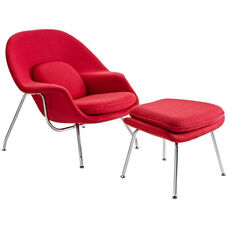 W Lounge Chair and Ottoman Set in Red