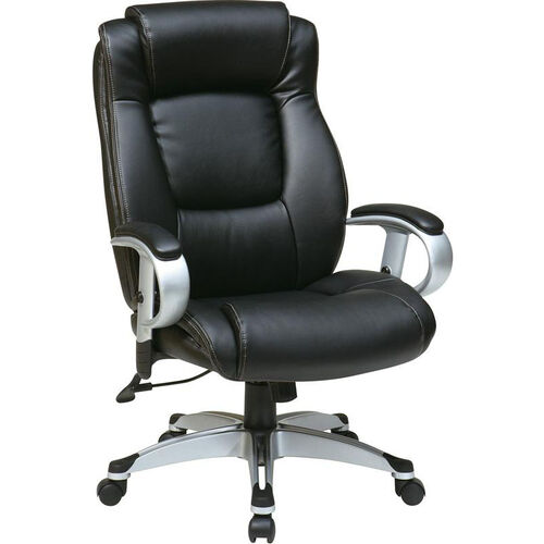 Work Smart Executive Eco Leather Chair with Height Adjustable Padded Arms and Coated Base - Black