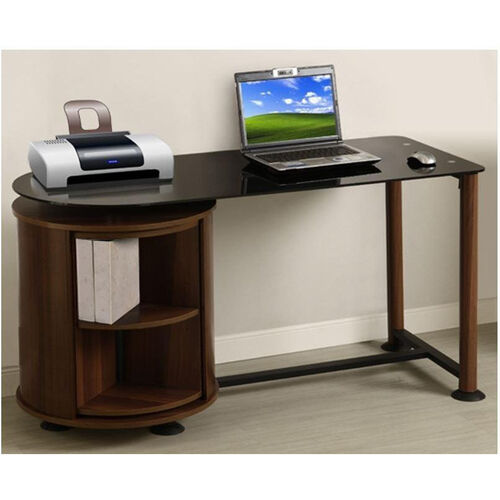 Suzanne 22.83'' W x 53.15'' D x 28'' H Glass Top Workstation with Rotating Drum - Black Glass with Dark Cherry Frame