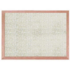 Burlap Weave Vinyl Bulletin Board with Red Oak Frame and Clear Lacquer Finish - Cloud - 12''H x 18''W