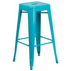 30'' High Backless Crystal Teal-Blue Indoor-Outdoor Barstool