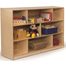 36'' High Laminate Birchwood Stationary Storage Cabinet with Eight Storage Compartments - 12''W x 48''D x 36''H
