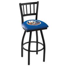 New York Islanders 25'' Black Wrinkle Finish Swivel Counter Height Stool with Jailhouse Style Back