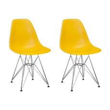 Paris Tower Side Chair with Chrome Legs and Yellow Seat - Set of 2
