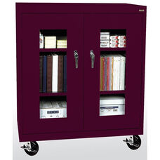 See-Thru Series 36'' W x 18'' D x 48'' H Clear View Mobile Counter Height Cabinet - Burgundy