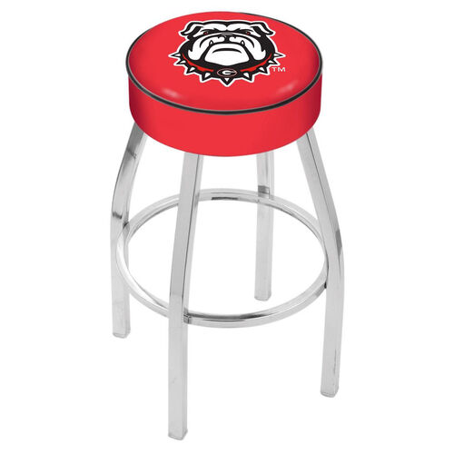University of Georgia 25'' Chrome Finish Swivel Backless Counter Height Stool with 4'' Thick Seat