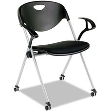 Alera Plus™ SL Series Mobile Nesting Stacking Chair with Loop Arms - Set of Two - Black