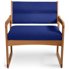 Solid Oak Bariatric Vinyl Arm Chair - Navy Blue