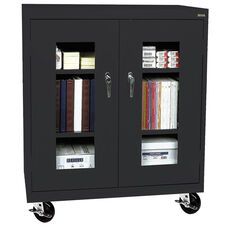 See-Thru Series 36'' W x 18'' D x 48'' H Clear View Mobile Counter Height Cabinet - Black