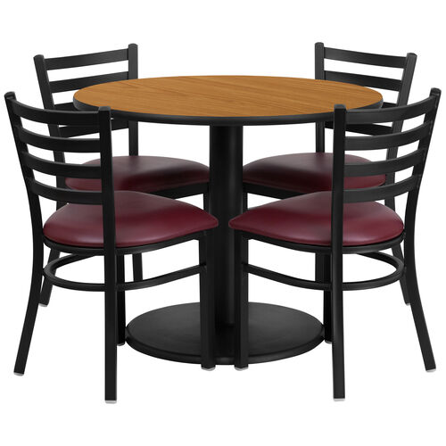 36'' Round Natural Laminate Table Set with Ladder Back Metal Chair and Burgundy Vinyl Seat, Seats 4