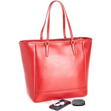 RFID Blocking Tote with Bluetooth and Portable Battery Power Bank - Red