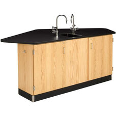 Forward Vision II Wooden Workstation with 1'' Thick Black Phenolic Resin Top and Sink - 88''W x 46''D x 36''H