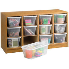 34'' W x 13'' D x 19'' H Supplies Organizer with Twelve Plastic Bins - Medium Oak