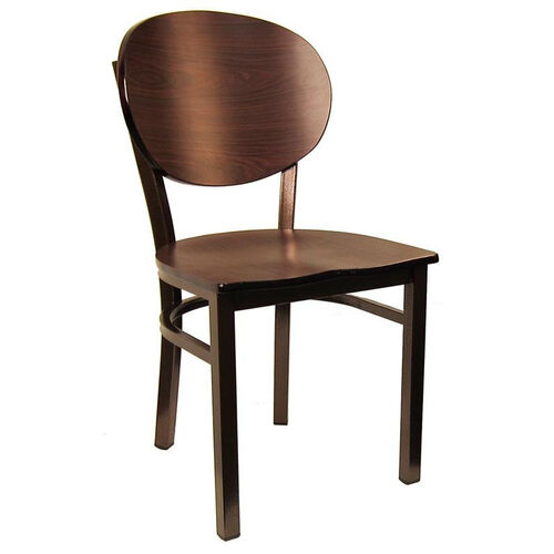 Metal Chair with Round Back and Veneer Seat