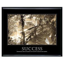 Advantus 30'' W x 24'' L Framed Sepia Tone Motivational Art Print - Success with Bridge in Forest