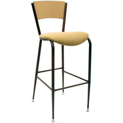 3818C Series Steel Frame Armless Cafe Barstool with Contoured Solid Wood Back and 2'' Upholstered Seat