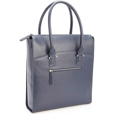 RFID Blocking Travel Carryall Laptop Tote Bag - Saffiano Genuine Leather - Blue