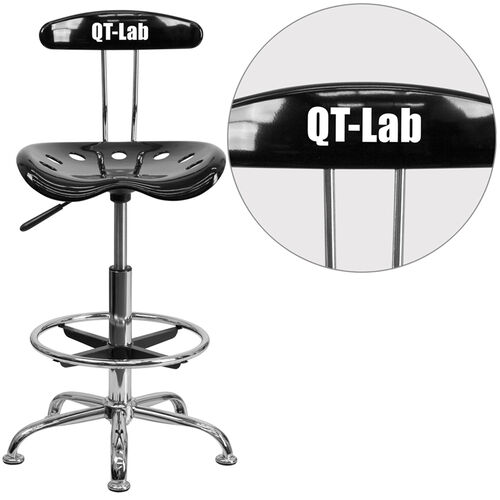 Personalized Vibrant Black and Chrome Drafting Stool with Tractor Seat