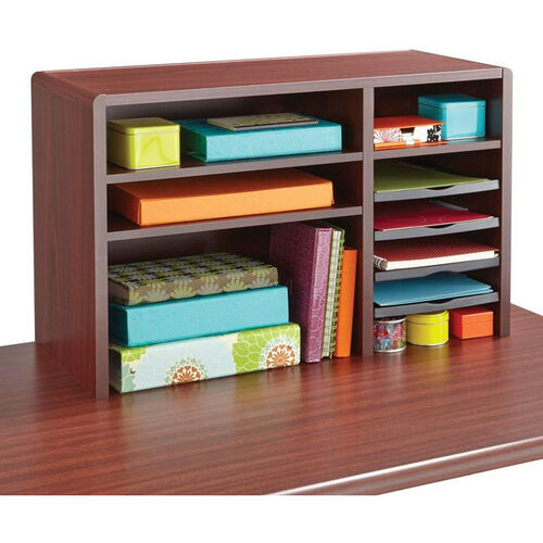 29'' W x 12'' D x 18'' H Compact Desk Top Organizer with Fully Adjustable Shelves - Mahogany