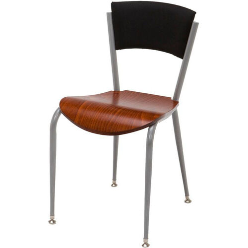 3800 Series Round Steel Frame Armless Cafe Chair with Contoured Upholstered Back and Wood Seat
