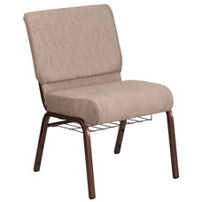 HERCULES Series 21''W Church Chair in Beige Fabric with Book Rack - Copper Vein Frame