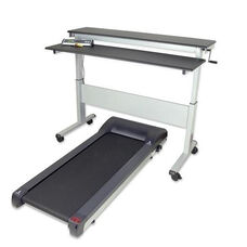 Heavy Duty Steel Framed Adjustable Height Stand-Up Treadmill Desk with Shock Absorbing Treadmill - 70.5''W x 29''D x 9.5''H