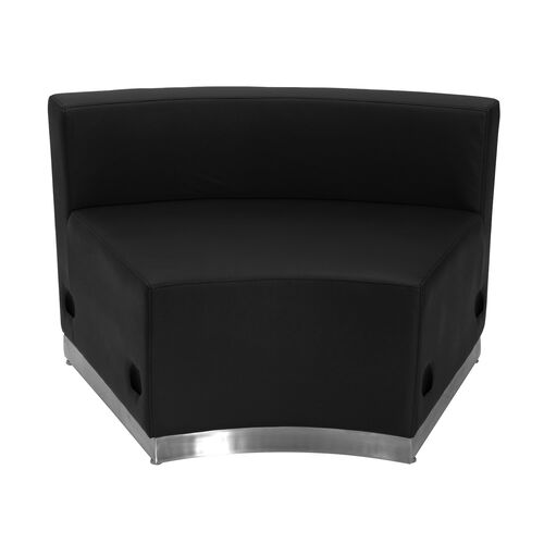 HERCULES Alon Series Black Leather Concave Chair with Brushed Stainless Steel Base