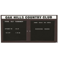 2 Door Outdoor Illuminated Enclosed Directory Board with Header and Bronze Anodized Aluminum Frame - 36''H x 72''W