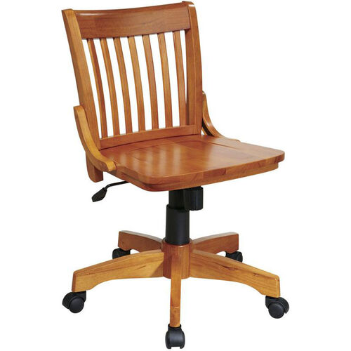 OSP Designs Deluxe Armless Wood Banker's Desk Chair with Wood Seat - Fruitwood