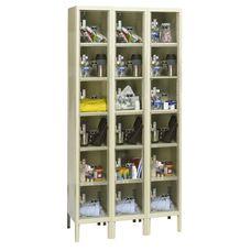 Safety Clear View Plus Box Three-Wide Six-Tier Locker Unassembled - Parchment Finish - 36''W x 18''D x 72''H