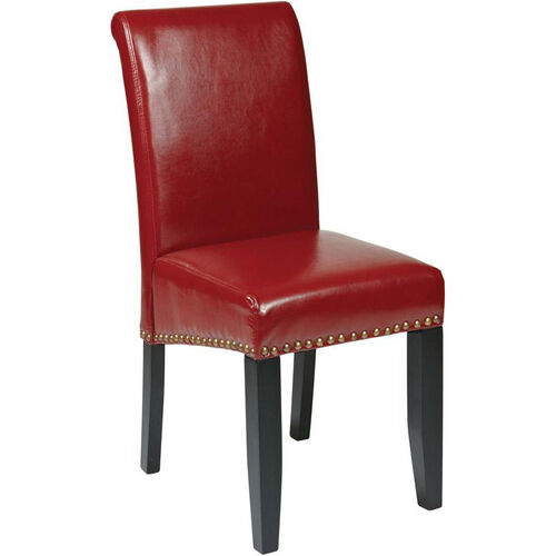 OSP Designs Metro Parsons Eco Leather Dining Chair with Nail Head Trim - Red