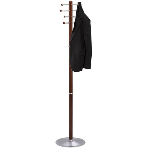 69'' H Wooden Coat Rack with Eight Oversized Hooks and a Steel Base - Cherry