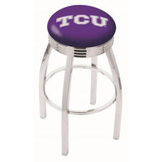 Texas Christian University 25'' Chrome Finish Swivel Backless Counter Height Stool with 2.5'' Ribbed Accent Ring