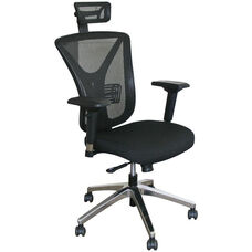 Fermata Executive Mesh Chair with Aluminum Base and Headrest - Black Fabric