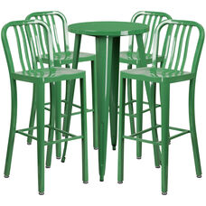24'' Round Green Metal Indoor-Outdoor Bar Table Set with 4 Vertical Slat Back Stools