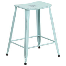 24'' High Distressed Green-Blue Metal Indoor-Outdoor Counter Height Saddle Comfort Stool