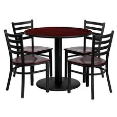 36'' Round Mahogany Laminate Table Set with Ladder Back Metal Chair and Mahogany Wood Seat, Seats 4