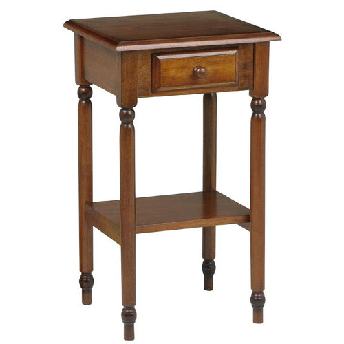 OSP Designs Knob Hill Telephone Table with Storage Drawer and Shelf - Cherry