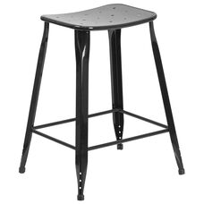 24'' High Black Metal Indoor-Outdoor Counter Height Saddle Comfort Stool