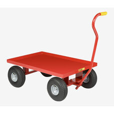 Solid Steel Lipped Deck Red Powder Coated Wagon Truck - 24''W x 36''D