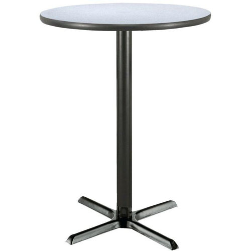 30'' Round Laminate Pedestal Table with Grey Nebula Bar Height Table Black X-Base
