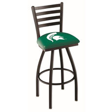 Michigan State University 25'' Black Wrinkle Finish Swivel Counter Height Stool with Ladder Style Back