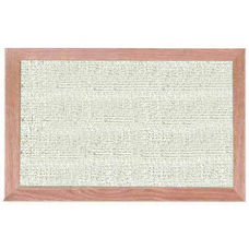 Burlap Weave Vinyl Bulletin Board with Red Oak Frame and Clear Lacquer Finish - Cement - 12''H x 18''W