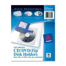 Avery Vinyl Self-Adhesive Media/Cd/Dvd Pockets - Pack Of 10