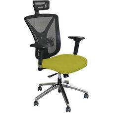 Fermata Executive Mesh Chair with Aluminum Base and Headrest - Lime Fabric