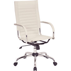 Ave Six Trinidad High Back Vinyl Office Chair with Chrome Base and Casters - Cream