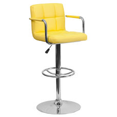 Contemporary Yellow Quilted Vinyl Adjustable Height Barstool with Arms and Chrome Base
