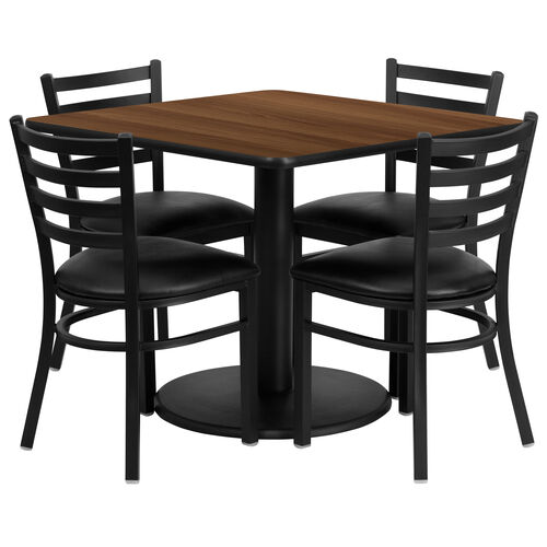 36'' Square Walnut Laminate Table Set with Ladder Back Metal Chair and Black Vinyl Seat, Seats 4