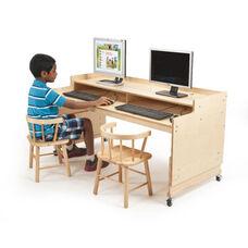 Height Adjustable Wide Birch Computer Desk