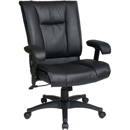 Work Smart Deluxe Mid-Back Executive Leather Chair with Pillow Top Seat and Back - Black